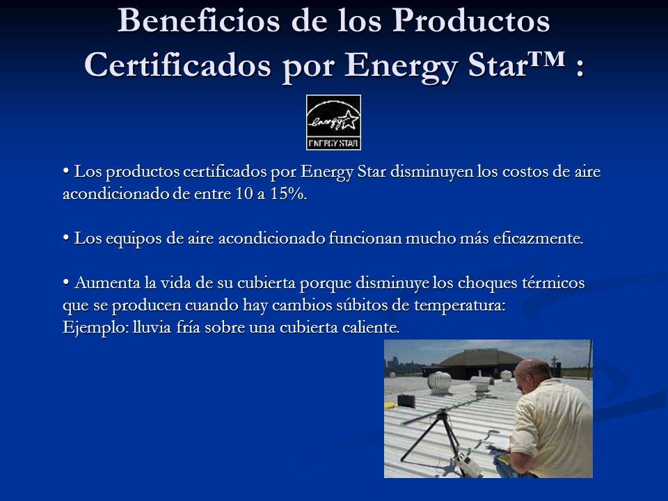 Beneficios de los Productos Certificados por Energy Star : Los productos certificados por Energy Star disminuyen los costos de aire acondicionado de entre 10 a 15%.