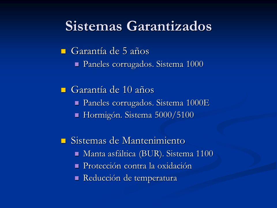 Sistemas Garantizados Garantía de 5 años Garantía de 5 años Paneles corrugados.