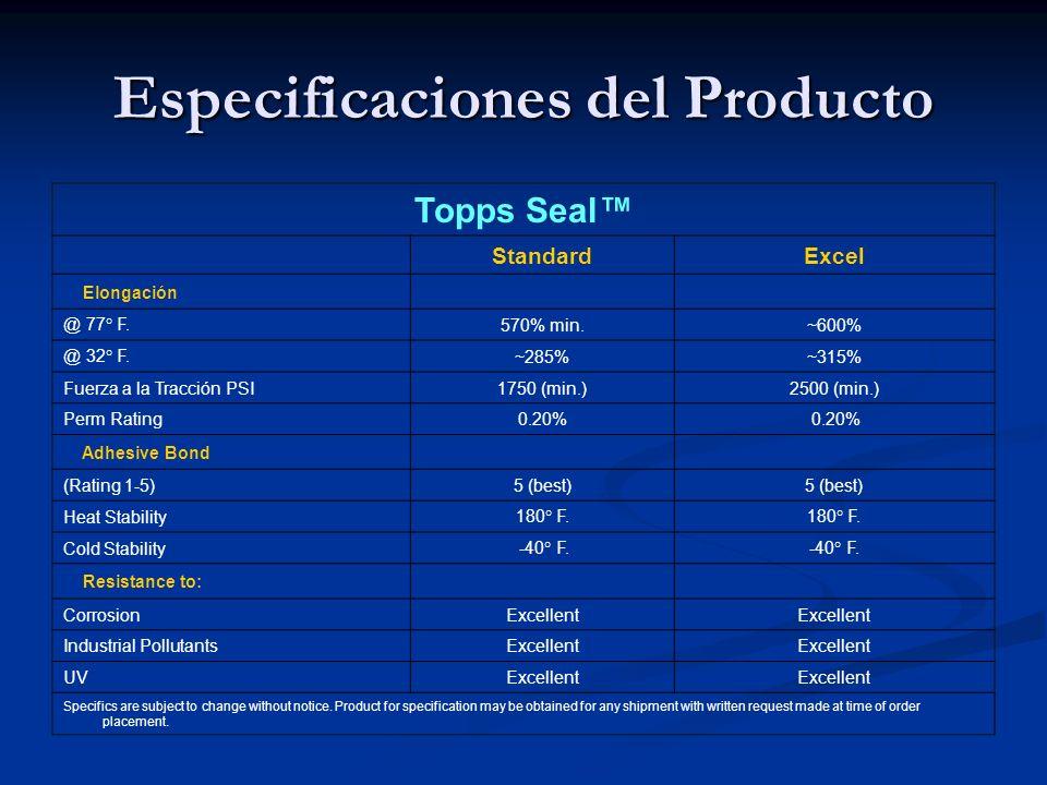 Especificaciones del Producto Topps Seal StandardExcel Elongación @ 77° F.570% min.~600% @ 32° F.~285%~315% Fuerza a la Tracción PSI1750 (min.)2500 (min.) Perm Rating0.20% Adhesive Bond (Rating 1-5)5 (best) Heat Stability180° F.