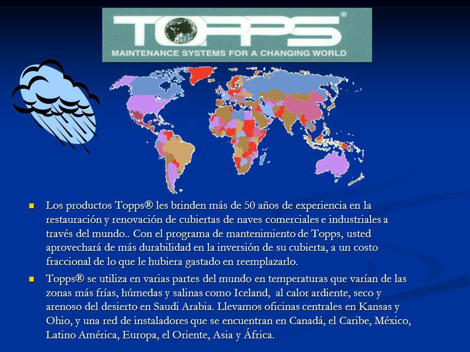Los productos Topps® les brinden más de 50 años de experiencia en la restauración y renovación de cubiertas de naves comerciales e industriales a través del mundo..