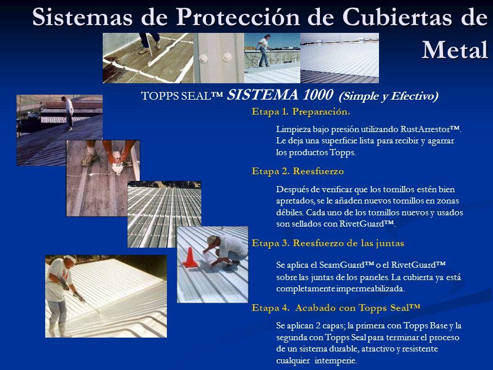 Protección: Techos Planos TOPPS SEAL SISTEMAS 5000/5100/1100 SOBRE MANTAS …ASFÁLTICAS HORMIGÓN ASFÁLTO (BUR) HYPALON PUF COATING Etapa 1.