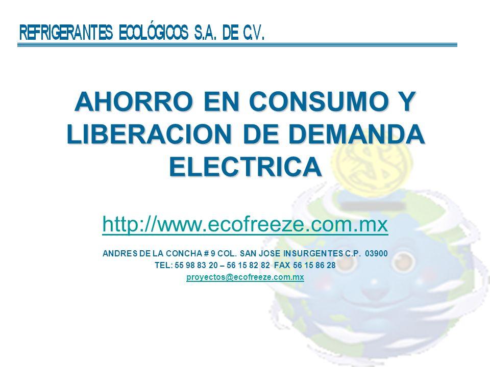 AHORRO EN CONSUMO Y LIBERACION DE DEMANDA ELECTRICA http://www.ecofreeze.com.mx ANDRES DE LA CONCHA # 9 COL. SAN JOSE INSURGENTES C.P. 03900 TEL: 55 9