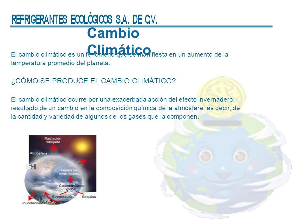 Cambio Climático El cambio climático es un fenómeno que se manifiesta en un aumento de la temperatura promedio del planeta.
