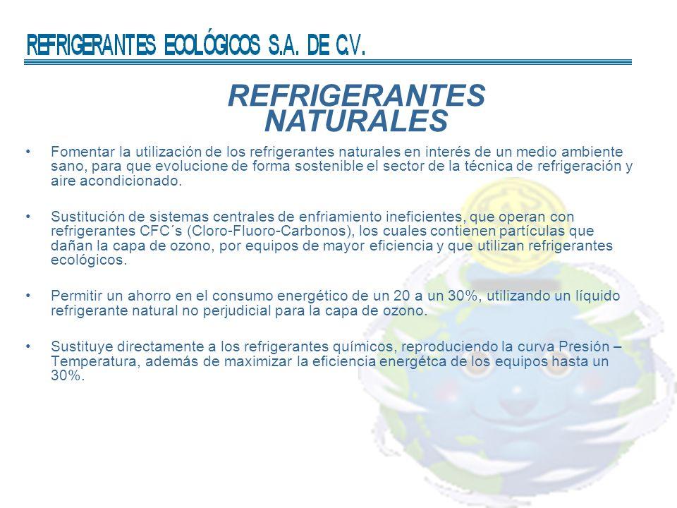 REFRIGERANTES NATURALES Fomentar la utilización de los refrigerantes naturales en interés de un medio ambiente sano, para que evolucione de forma sost