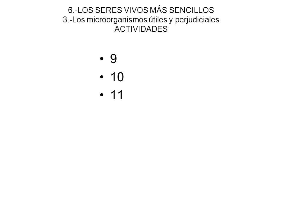 6.-LOS SERES VIVOS MÁS SENCILLOS 3.-Los microorganismos útiles y perjudiciales ACTIVIDADES 9 10 11