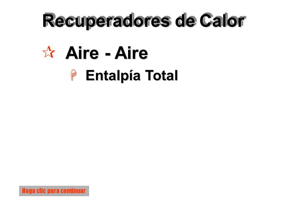 Recuperadores de Calor Aire - Aire ¶ Aire - Aire H Entalpía Total Haga clic para continuar