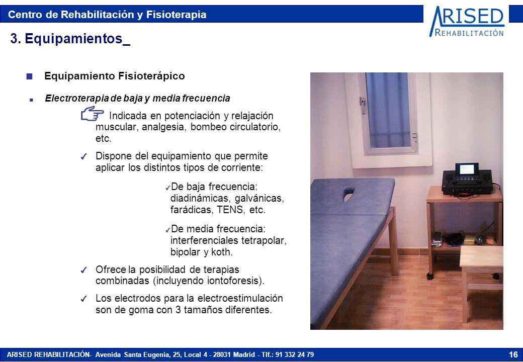 Centro de Rehabilitación y Fisioterapia ARISED REHABILITACIÓN- Avenida Santa Eugenia, 25, Local 4 - 28031 Madrid - Tlf.: 91 332 24 79 16 n Electrotera