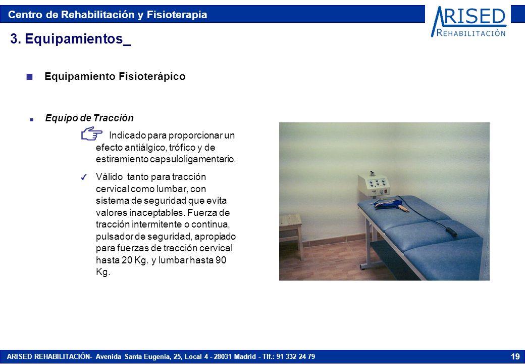 Centro de Rehabilitación y Fisioterapia ARISED REHABILITACIÓN- Avenida Santa Eugenia, 25, Local 4 - 28031 Madrid - Tlf.: 91 332 24 79 19 n Equipo de T