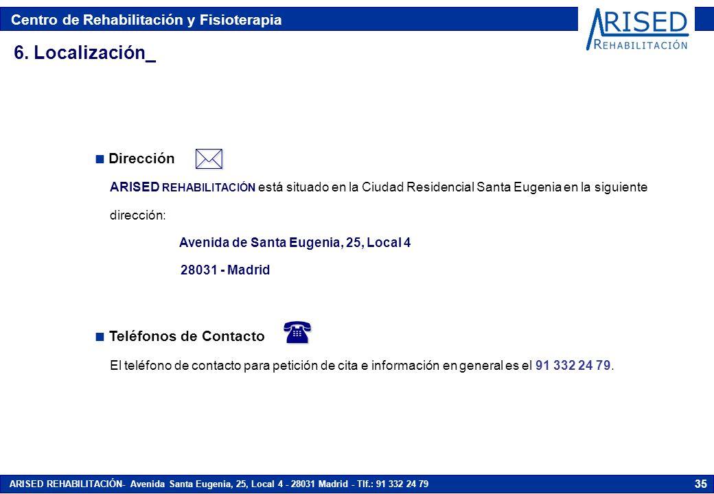 Centro de Rehabilitación y Fisioterapia ARISED REHABILITACIÓN- Avenida Santa Eugenia, 25, Local 4 - 28031 Madrid - Tlf.: 91 332 24 79 35 6. Localizaci