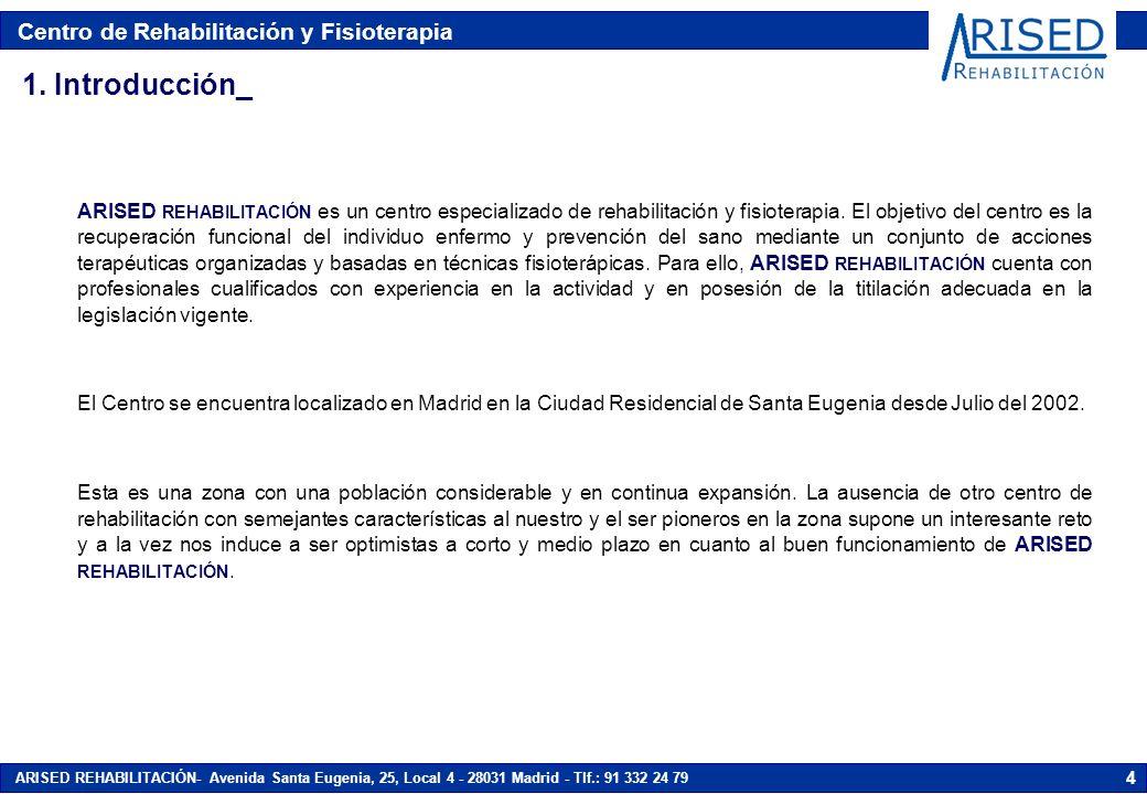 Centro de Rehabilitación y Fisioterapia ARISED REHABILITACIÓN- Avenida Santa Eugenia, 25, Local 4 - 28031 Madrid - Tlf.: 91 332 24 79 35 6.