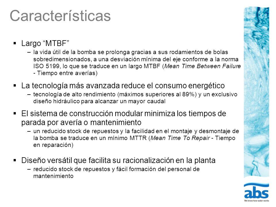 Características Largo MTBF –la vida útil de la bomba se prolonga gracias a sus rodamientos de bolas sobredimensionados, a una desviación mínima del ej