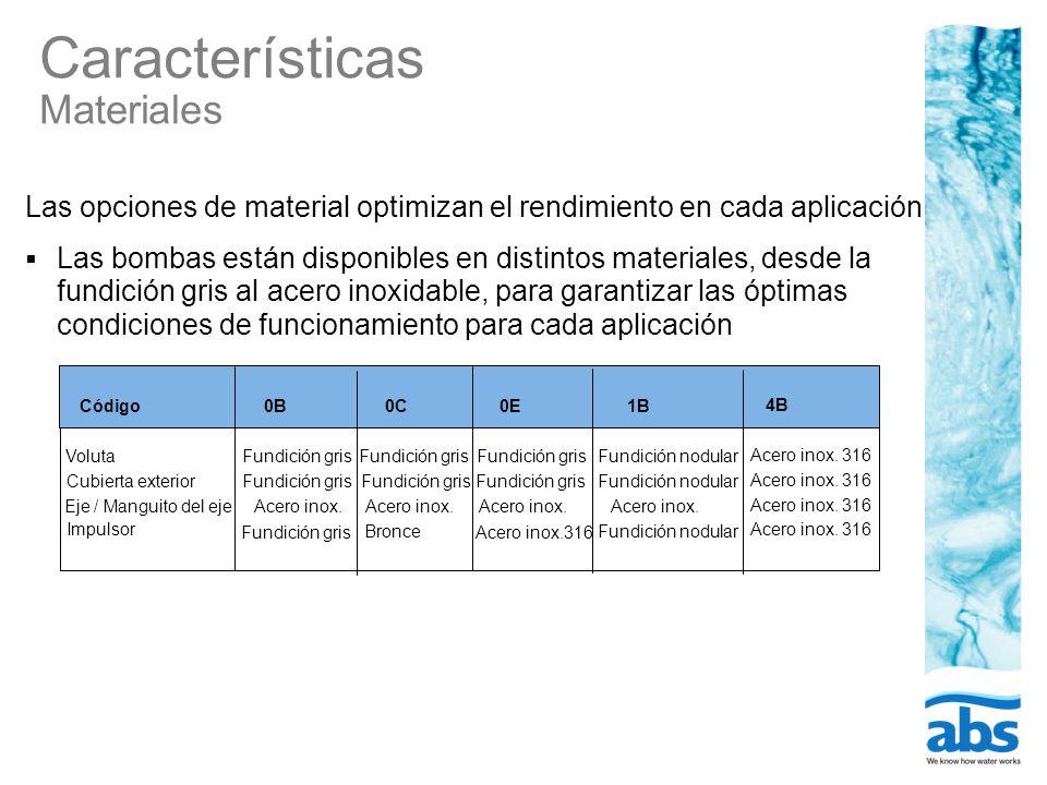Características Materiales Código0B0C0E1B 4B VolutaFundición gris Fundición nodular Acero inox. 316 Cubierta exterior Fundición gris Fundición nodular