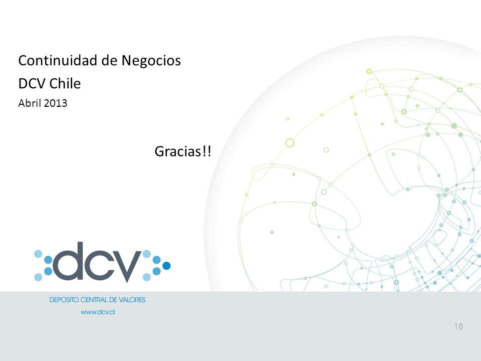 Continuidad de Negocios DCV Chile Abril 2013 18 Gracias!!