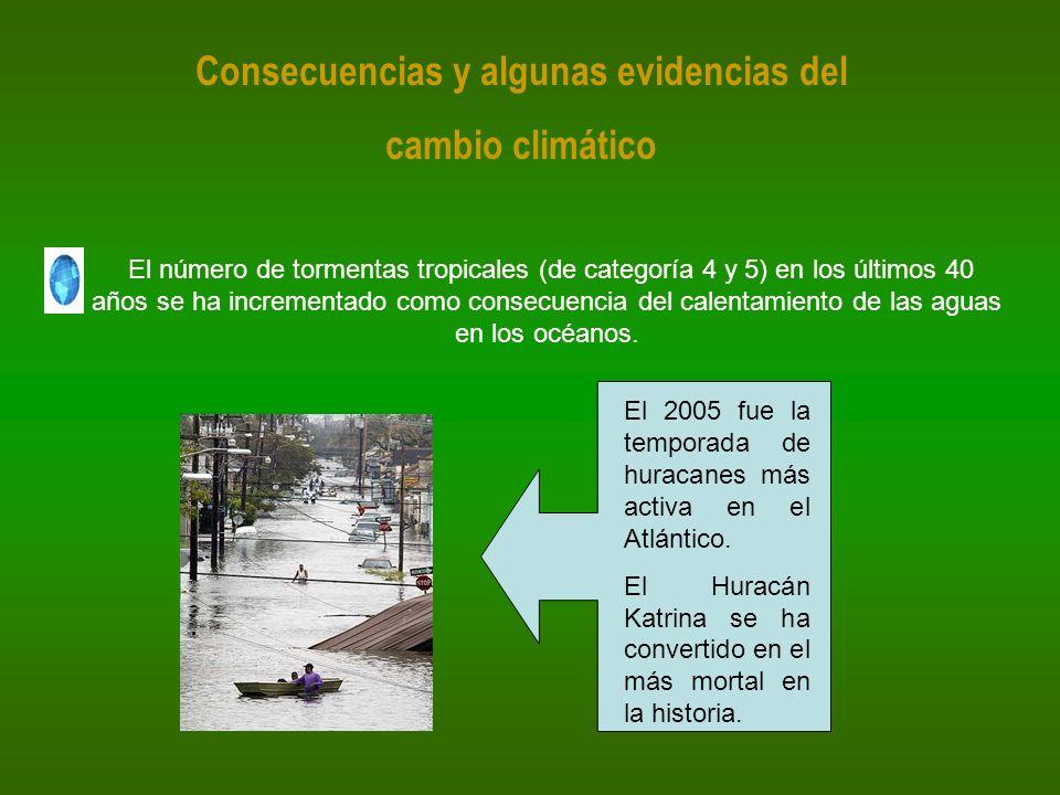 Consecuencias y algunas evidencias del cambio climático El número de tormentas tropicales (de categoría 4 y 5) en los últimos 40 años se ha incrementa