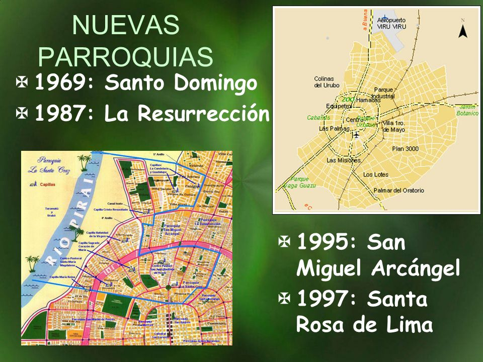 NUEVAS PARROQUIAS 1995: San Miguel Arcángel 1997: Santa Rosa de Lima 1969: Santo Domingo 1987: La Resurrección