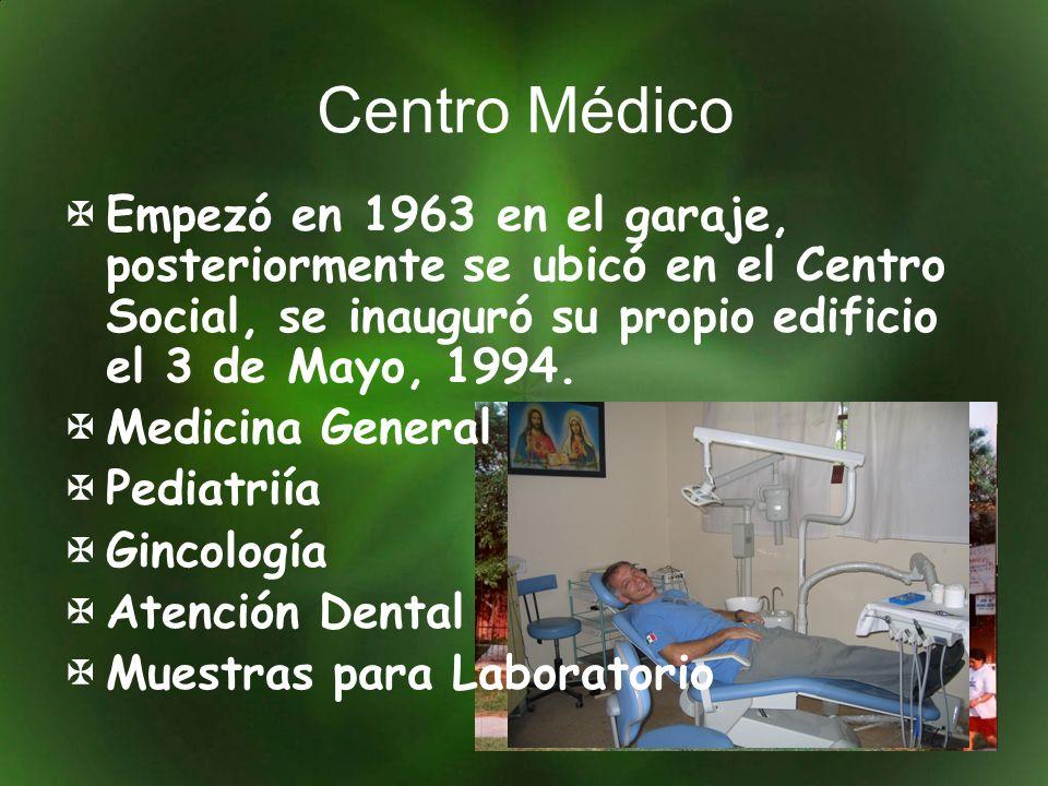 Centro Médico Empezó en 1963 en el garaje, posteriormente se ubicó en el Centro Social, se inauguró su propio edificio el 3 de Mayo, 1994. Medicina Ge