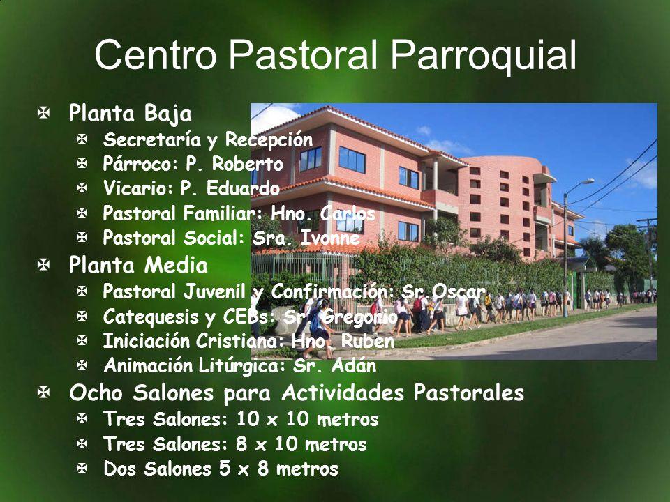 Centro Pastoral Parroquial Planta Baja Secretaría y Recepción Párroco: P. Roberto Vicario: P. Eduardo Pastoral Familiar: Hno. Carlos Pastoral Social: