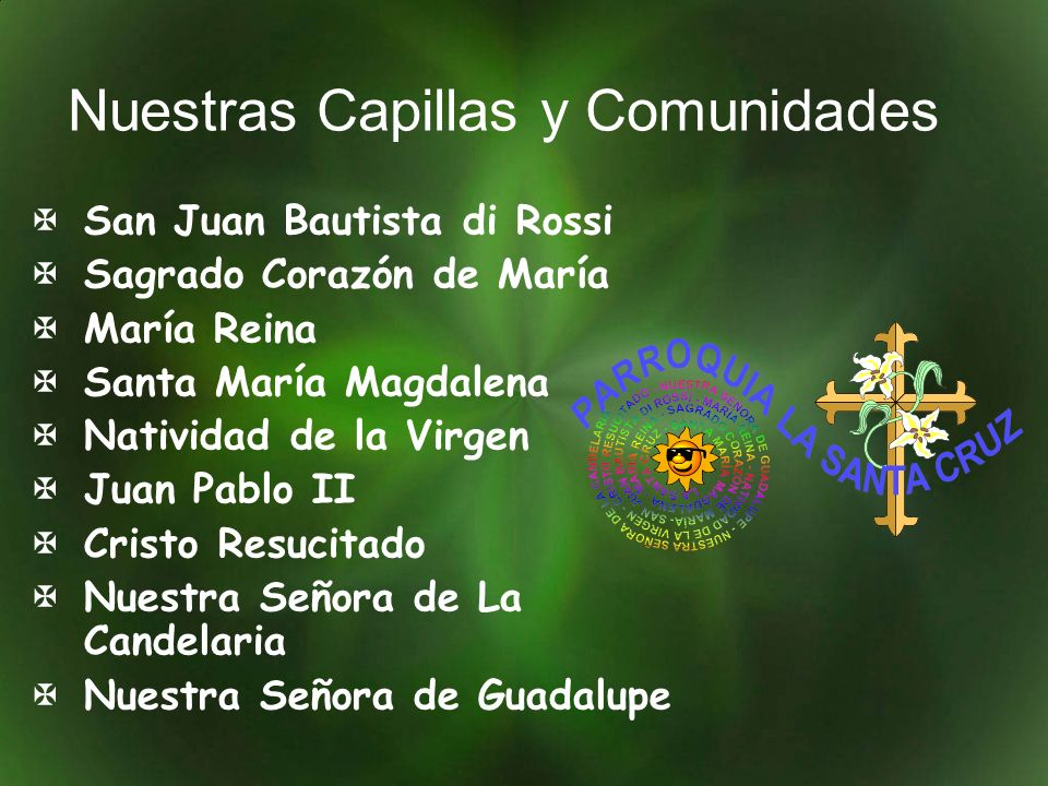 Nuestras Capillas y Comunidades San Juan Bautista di Rossi Sagrado Corazón de María María Reina Santa María Magdalena Natividad de la Virgen Juan Pabl