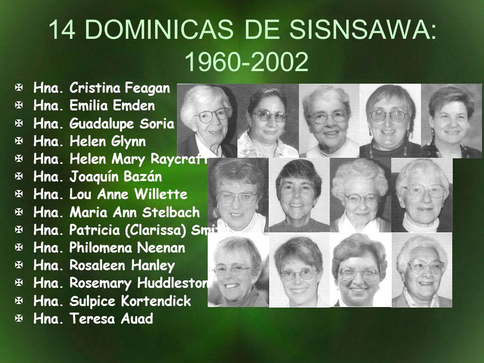 14 DOMINICAS DE SISNSAWA: 1960-2002 Hna. Cristina Feagan Hna. Emilia Emden Hna. Guadalupe Soria Hna. Helen Glynn Hna. Helen Mary Raycraft Hna. Joaquín