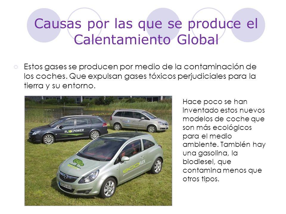 Causas por las que se produce el Calentamiento Global Estos gases se producen por medio de la contaminación de los coches. Que expulsan gases tóxicos