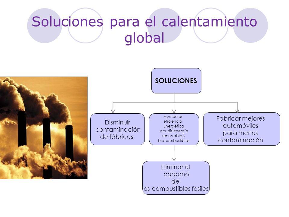 Soluciones para el calentamiento global SOLUCIONES Disminuir contaminación de fábricas Aumentar eficiencia Energética Acudir energía renovable y bioco