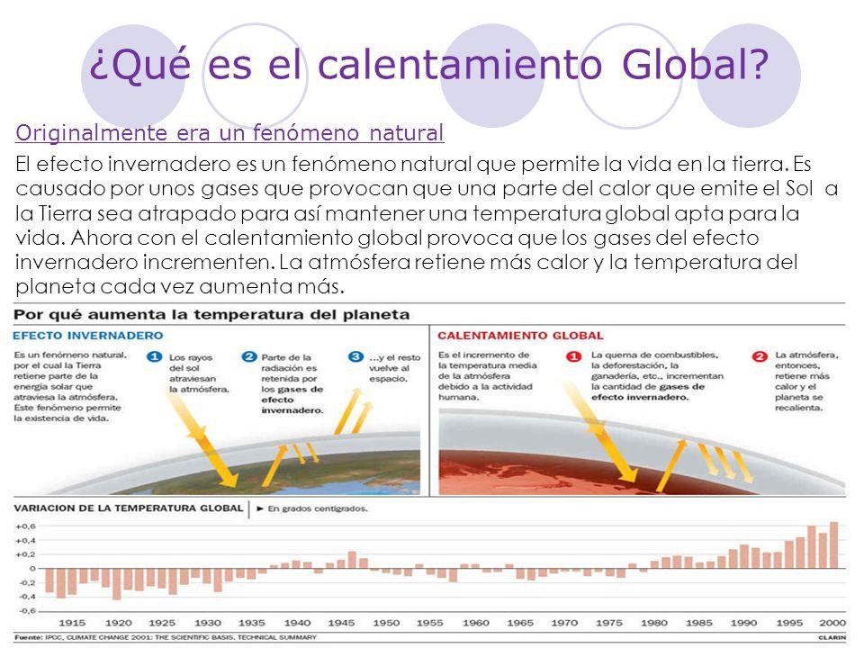 ¿Qué es el calentamiento Global? Originalmente era un fenómeno natural El efecto invernadero es un fenómeno natural que permite la vida en la tierra.