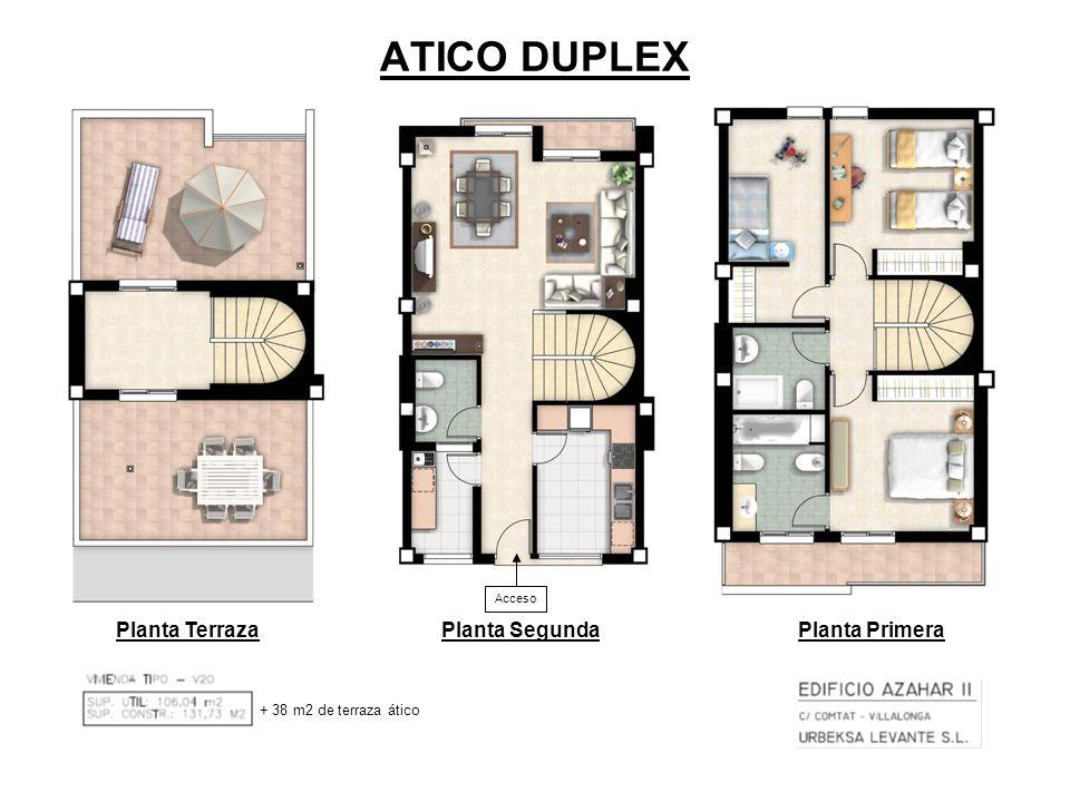 ATICO DUPLEX Planta TerrazaPlanta SegundaPlanta Primera Acceso + 38 m2 de terraza ático