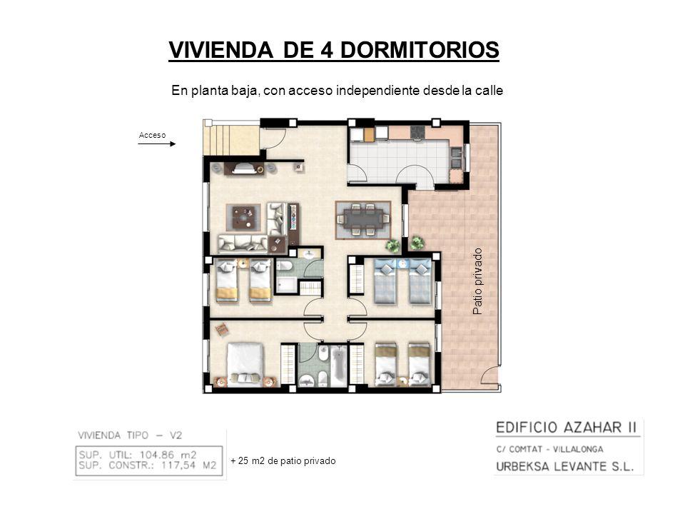 VIVIENDA DE 4 DORMITORIOS Acceso + 25 m2 de patio privado En planta baja, con acceso independiente desde la calle Patio privado
