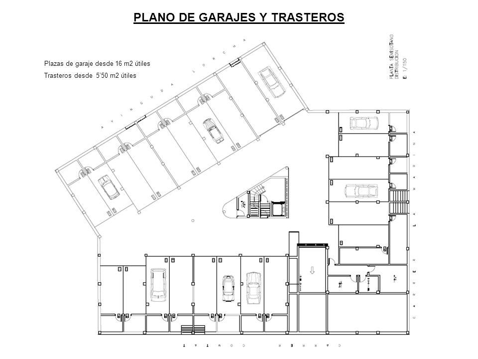 PLANO DE GARAJES Y TRASTEROS Plazas de garaje desde 16 m2 útiles Trasteros desde 550 m2 útiles