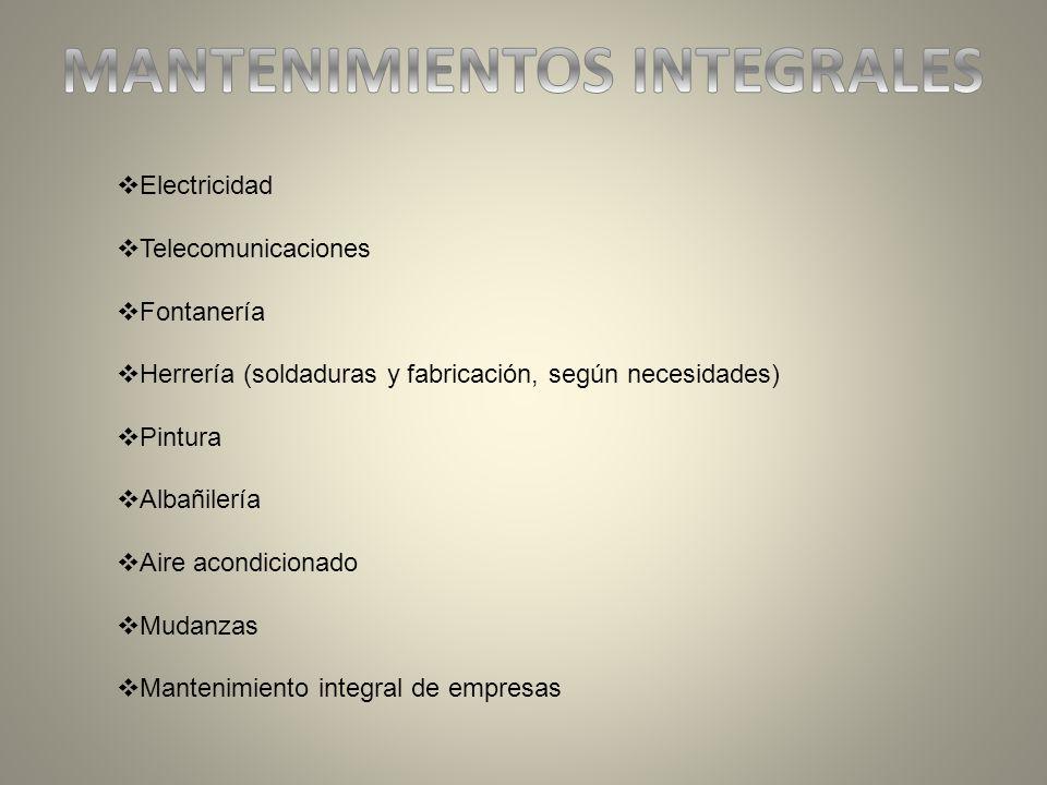 Electricidad Telecomunicaciones Fontanería Herrería (soldaduras y fabricación, según necesidades) Pintura Albañilería Aire acondicionado Mudanzas Mant