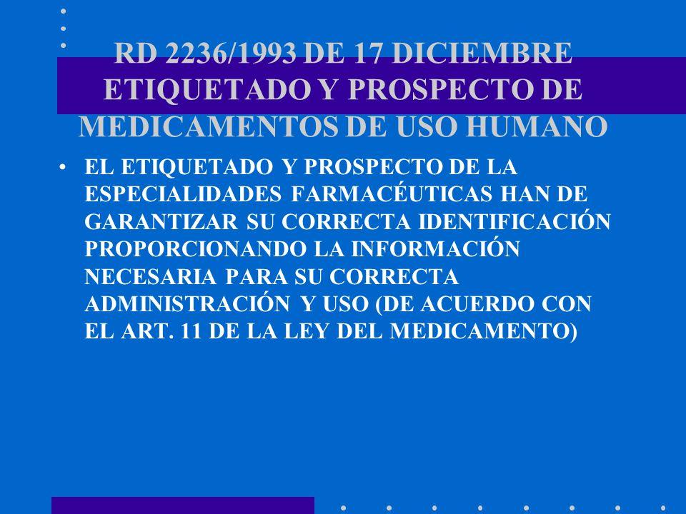 RD 2236/1993 DE 17 DICIEMBRE ETIQUETADO Y PROSPECTO DE MEDICAMENTOS DE USO HUMANO EL ETIQUETADO Y PROSPECTO DE LA ESPECIALIDADES FARMACÉUTICAS HAN DE