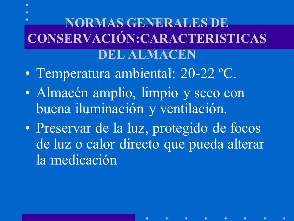 NORMAS GENERALES DE CONSERVACIÓN:CARACTERISTICAS DEL ALMACEN Temperatura ambiental: 20-22 ºC. Almacén amplio, limpio y seco con buena iluminación y ve