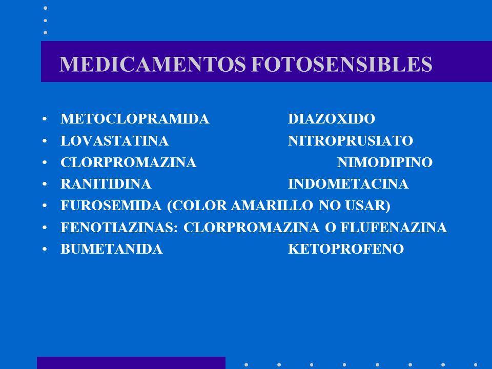 MEDICAMENTOS FOTOSENSIBLES METOCLOPRAMIDADIAZOXIDO LOVASTATINANITROPRUSIATO CLORPROMAZINANIMODIPINO RANITIDINA INDOMETACINA FUROSEMIDA (COLOR AMARILLO