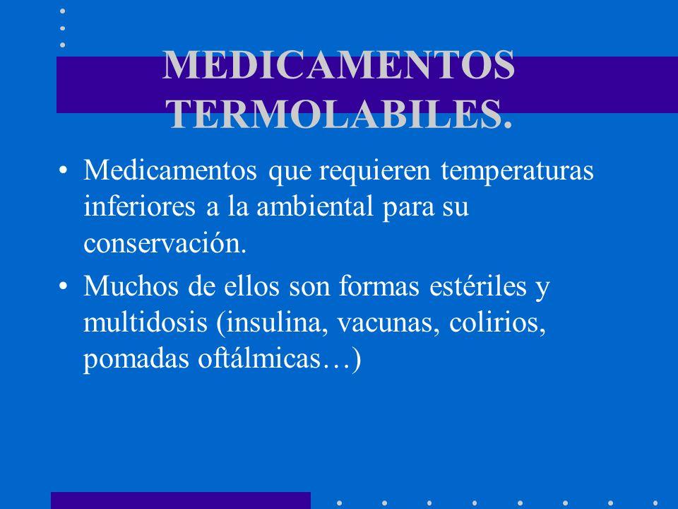 MEDICAMENTOS TERMOLABILES. Medicamentos que requieren temperaturas inferiores a la ambiental para su conservación. Muchos de ellos son formas estérile