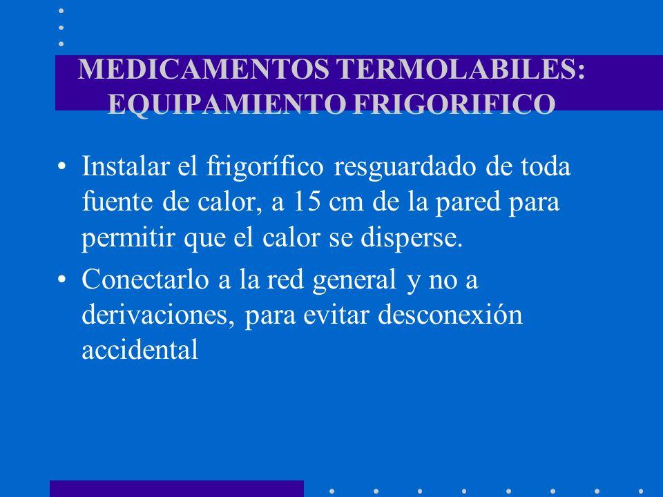 MEDICAMENTOS TERMOLABILES: EQUIPAMIENTO FRIGORIFICO Instalar el frigorífico resguardado de toda fuente de calor, a 15 cm de la pared para permitir que