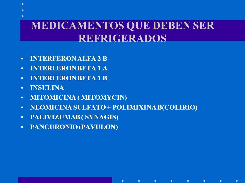 MEDICAMENTOS QUE DEBEN SER REFRIGERADOS INTERFERON ALFA 2 B INTERFERON BETA 1 A INTERFERON BETA 1 B INSULINA MITOMICINA ( MITOMYCIN) NEOMICINA SULFATO