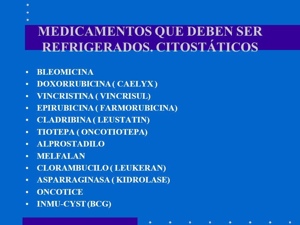 MEDICAMENTOS QUE DEBEN SER REFRIGERADOS. CITOSTÁTICOS BLEOMICINA DOXORRUBICINA ( CAELYX ) VINCRISTINA ( VINCRISUL) EPIRUBICINA ( FARMORUBICINA) CLADRI
