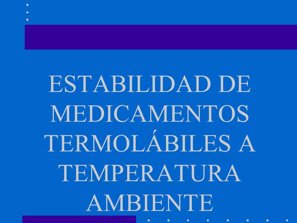 ESTABILIDAD DE MEDICAMENTOS TERMOLÁBILES A TEMPERATURA AMBIENTE