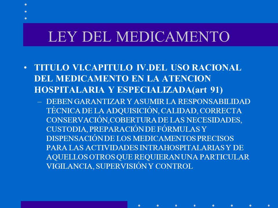 LEY DEL MEDICAMENTO TITULO VI.CAPITULO IV.DEL USO RACIONAL DEL MEDICAMENTO EN LA ATENCION HOSPITALARIA Y ESPECIALIZADA(art 91) –DEBEN GARANTIZAR Y ASU