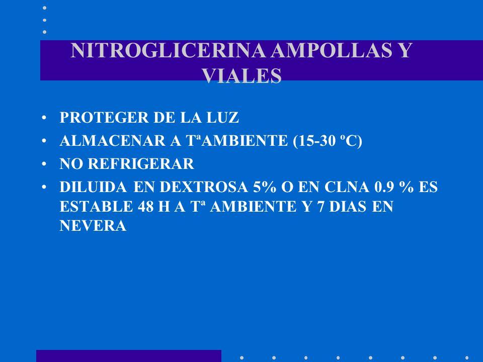 NITROGLICERINA AMPOLLAS Y VIALES PROTEGER DE LA LUZ ALMACENAR A TªAMBIENTE (15-30 ºC) NO REFRIGERAR DILUIDA EN DEXTROSA 5% O EN CLNA 0.9 % ES ESTABLE