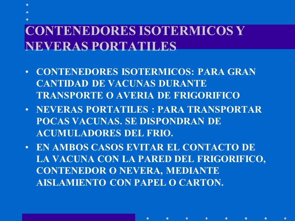 CONTENEDORES ISOTERMICOS Y NEVERAS PORTATILES CONTENEDORES ISOTERMICOS: PARA GRAN CANTIDAD DE VACUNAS DURANTE TRANSPORTE O AVERIA DE FRIGORIFICO NEVER