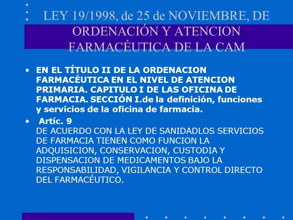 LEY 19/1998, de 25 de NOVIEMBRE, DE ORDENACIÓN Y ATENCION FARMACÉUTICA DE LA CAM EN EL TÍTULO II DE LA ORDENACION FARMACÉUTICA EN EL NIVEL DE ATENCION