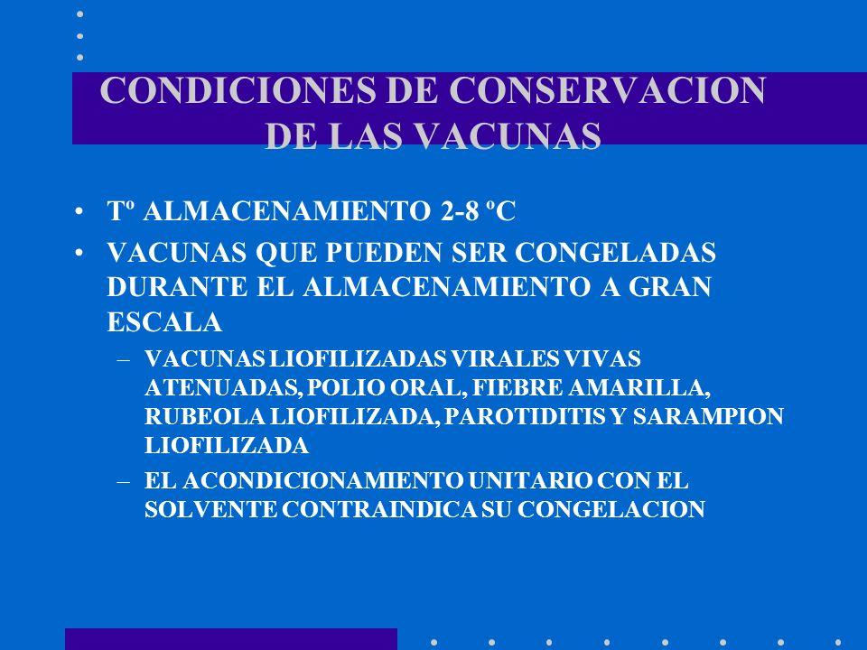 CONDICIONES DE CONSERVACION DE LAS VACUNAS Tº ALMACENAMIENTO 2-8 ºC VACUNAS QUE PUEDEN SER CONGELADAS DURANTE EL ALMACENAMIENTO A GRAN ESCALA –VACUNAS