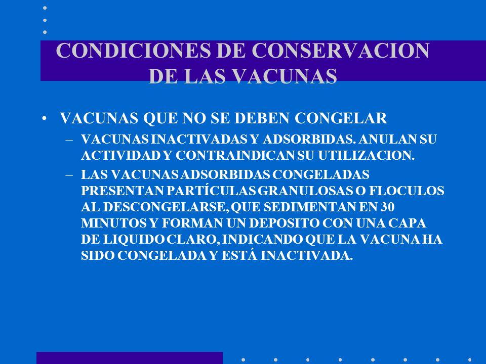 CONDICIONES DE CONSERVACION DE LAS VACUNAS VACUNAS QUE NO SE DEBEN CONGELAR –VACUNAS INACTIVADAS Y ADSORBIDAS. ANULAN SU ACTIVIDAD Y CONTRAINDICAN SU