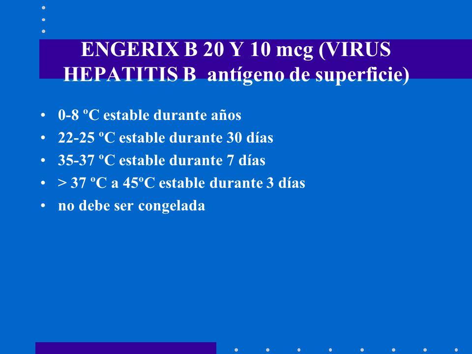 ENGERIX B 20 Y 10 mcg (VIRUS HEPATITIS B antígeno de superficie) 0-8 ºC estable durante años 22-25 ºC estable durante 30 días 35-37 ºC estable durante
