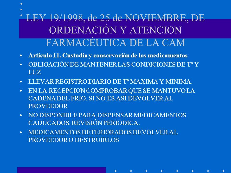 LEY 19/1998, de 25 de NOVIEMBRE, DE ORDENACIÓN Y ATENCION FARMACÉUTICA DE LA CAM Artículo 11. Custodia y conservación de los medicamentos OBLIGACIÓN D