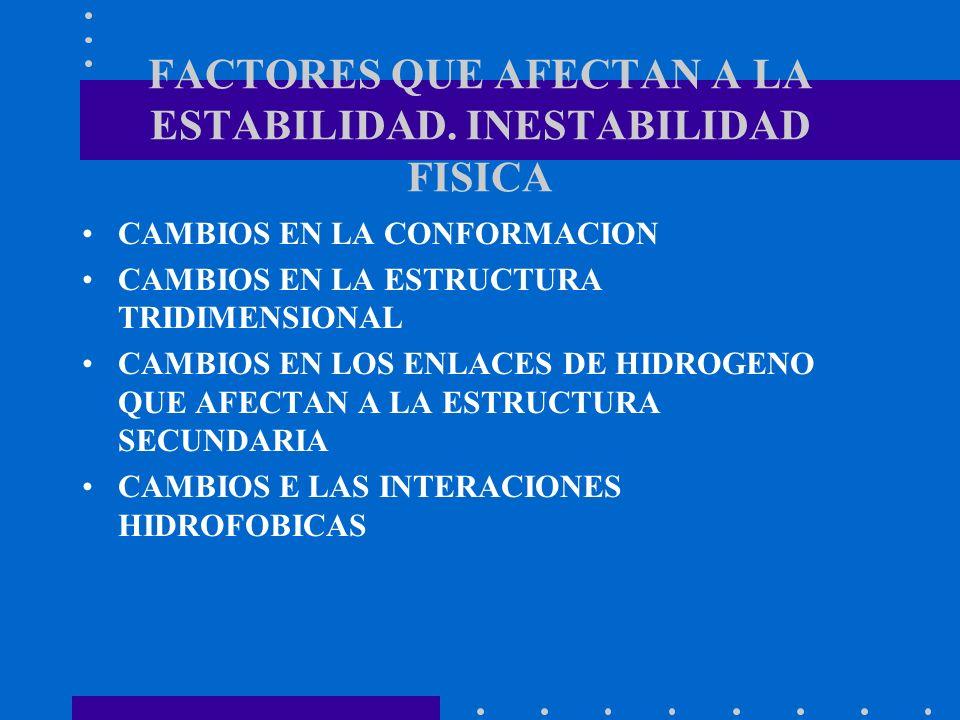 FACTORES QUE AFECTAN A LA ESTABILIDAD. INESTABILIDAD FISICA CAMBIOS EN LA CONFORMACION CAMBIOS EN LA ESTRUCTURA TRIDIMENSIONAL CAMBIOS EN LOS ENLACES