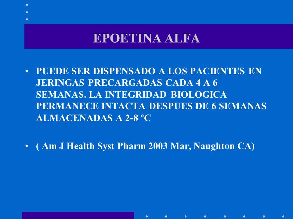 EPOETINA ALFA PUEDE SER DISPENSADO A LOS PACIENTES EN JERINGAS PRECARGADAS CADA 4 A 6 SEMANAS. LA INTEGRIDAD BIOLOGICA PERMANECE INTACTA DESPUES DE 6