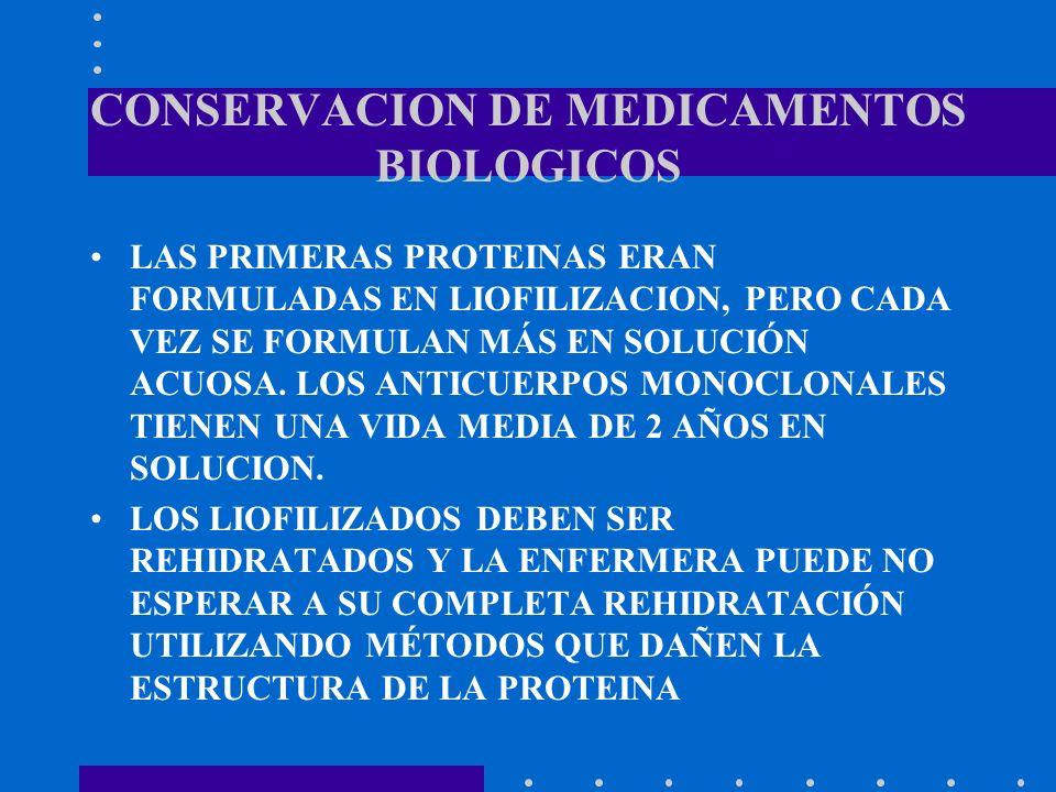 CONSERVACION DE MEDICAMENTOS BIOLOGICOS LAS PRIMERAS PROTEINAS ERAN FORMULADAS EN LIOFILIZACION, PERO CADA VEZ SE FORMULAN MÁS EN SOLUCIÓN ACUOSA. LOS