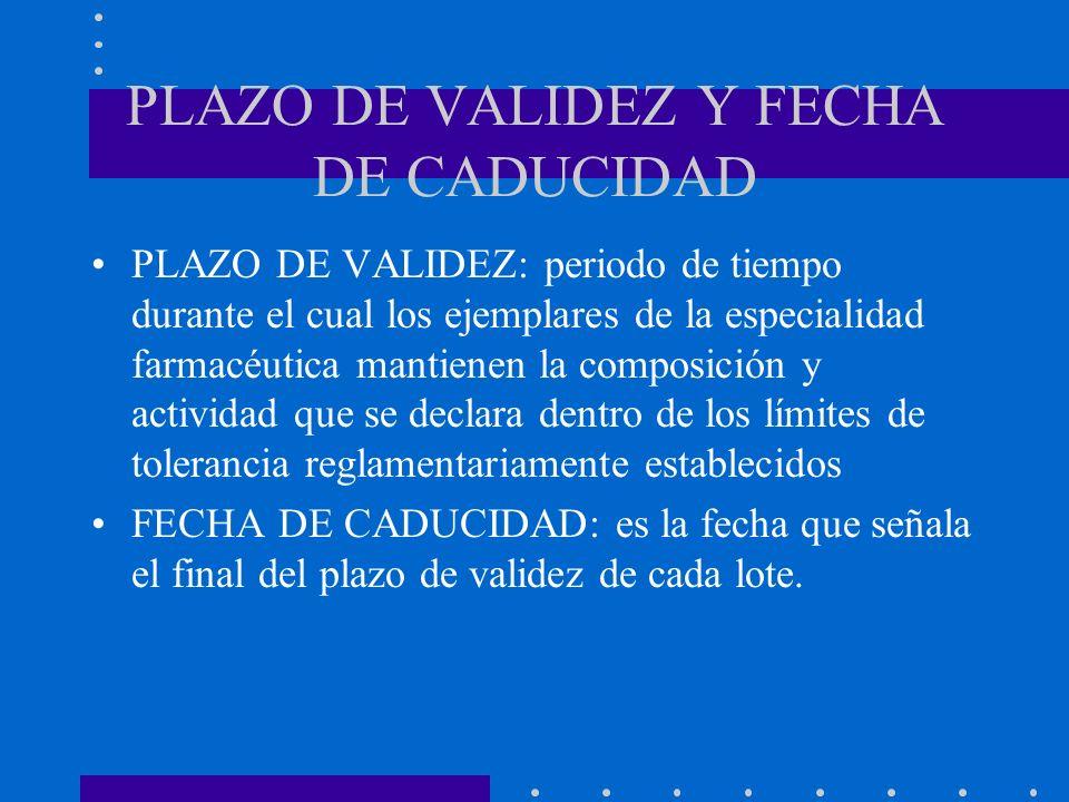 PLAZO DE VALIDEZ Y FECHA DE CADUCIDAD PLAZO DE VALIDEZ: periodo de tiempo durante el cual los ejemplares de la especialidad farmacéutica mantienen la